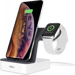 Base de Carga Inalámbrica para Apple Watch, iPhone XS, iPhone XS Max y iPhone XR Belkin PowerHouse Blanca
