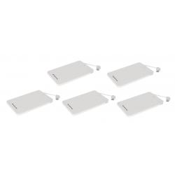 Batería Powerbank 2600 mAh Conceptronic Power2Go Blanco Pack de 5 Unidades