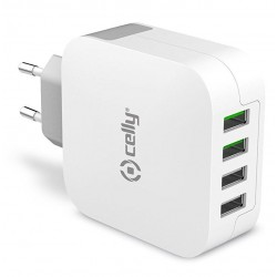 USB x4 Turbo Charger Celly White