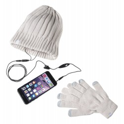Touch gloves and hat Celly White Headset
