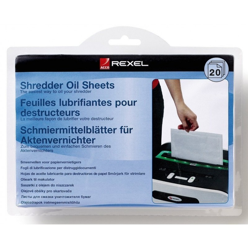 Lubricants sheets Rexel Shredders x20