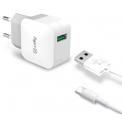 Cargador USB Celly Turbo 2.4A Blanco + Cable Tipo C