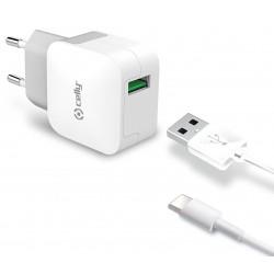 Cargador USB Celly Turbo 2.4A Blanco + Cable Tipo C