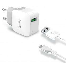 Cargador USB Celly Turbo Blanco + MicroUSB