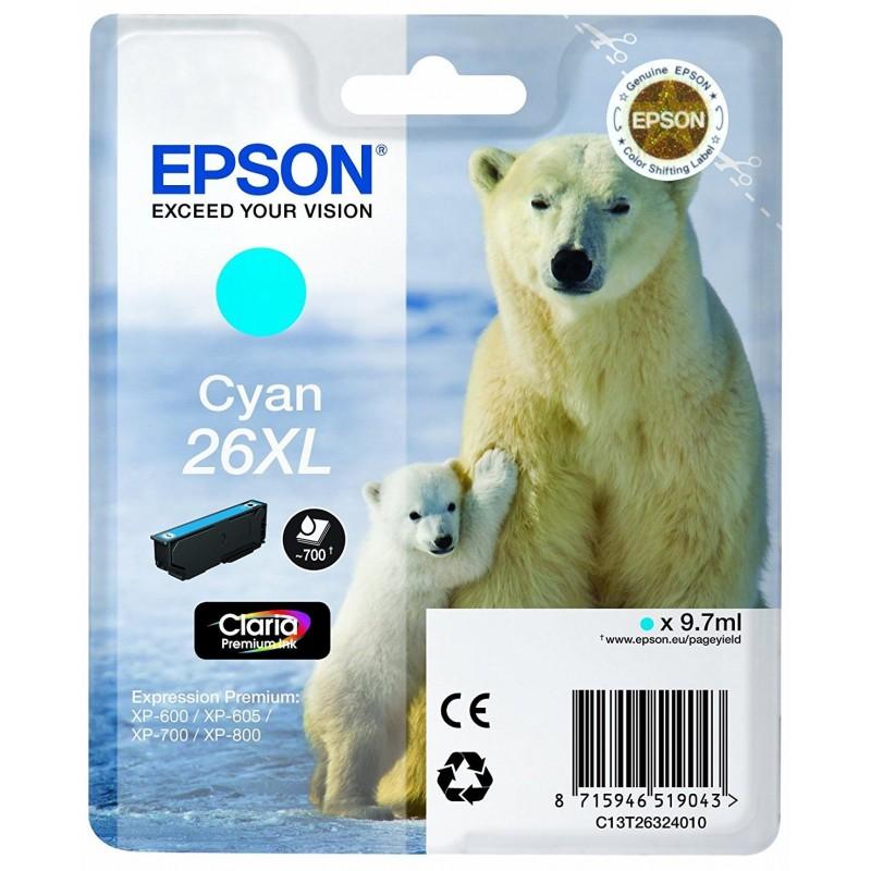 Tinta Epson 26XL Cian T2632