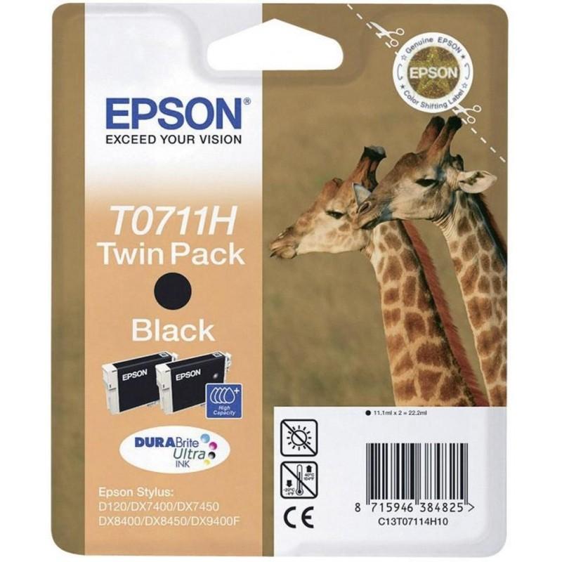 Tinta Epson T0711H Negro Pack de 2 Unidades