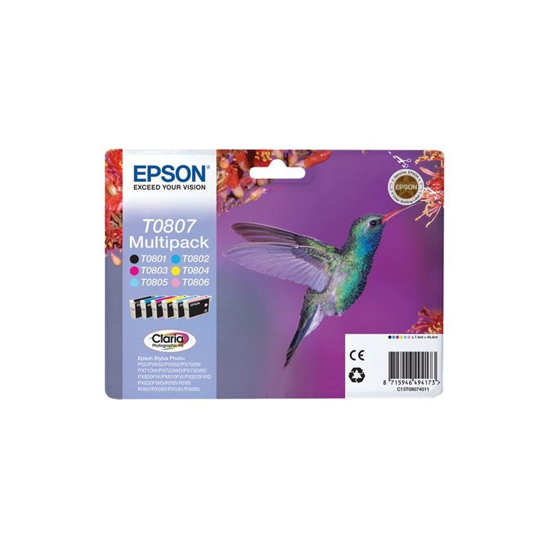 Epson T0807 ink pack 6 Colors