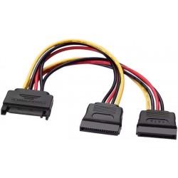 Cable de Alimentación SATA Macho a 2xSATA Hembra de 20 cms Aisens