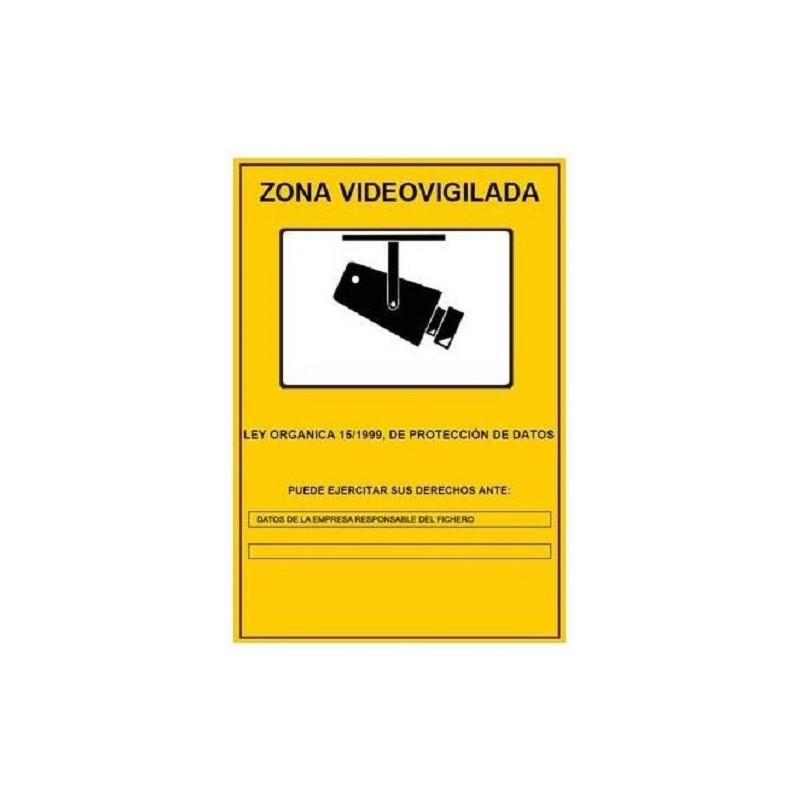 Cartel Zona Videovigilada de 21x29 cms