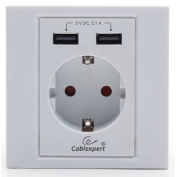 Schucko + 2 Tomas USB Cablexpert Interno