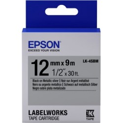 EPSON CINTA METALICA PLATA/NEGRO 12MM X 9M