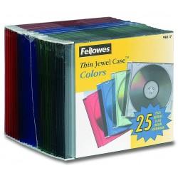 Caja CD/DVD Thin Jewel x25 Fellowes Color