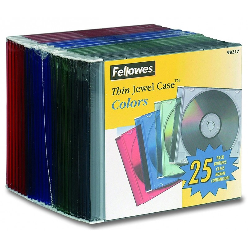 Box CD / DVD Jewel x25 Fellowes Thin Color