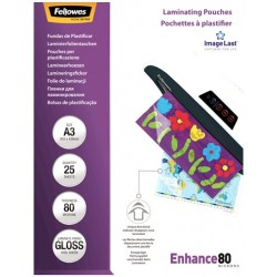 Funda de Plastificar A3 80 Micras Brillo Fellowes x25