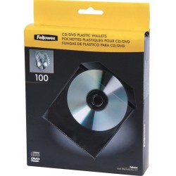Fundas para CD o DVD 100 Unidades Fellowes
