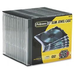 Caja CD/DVD Slim Jewel x25 Fellowes Clear
