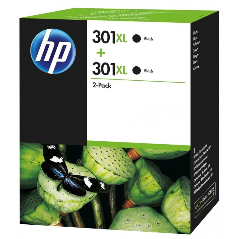 HP 301XL Black Ink Units x2 D8J45AE