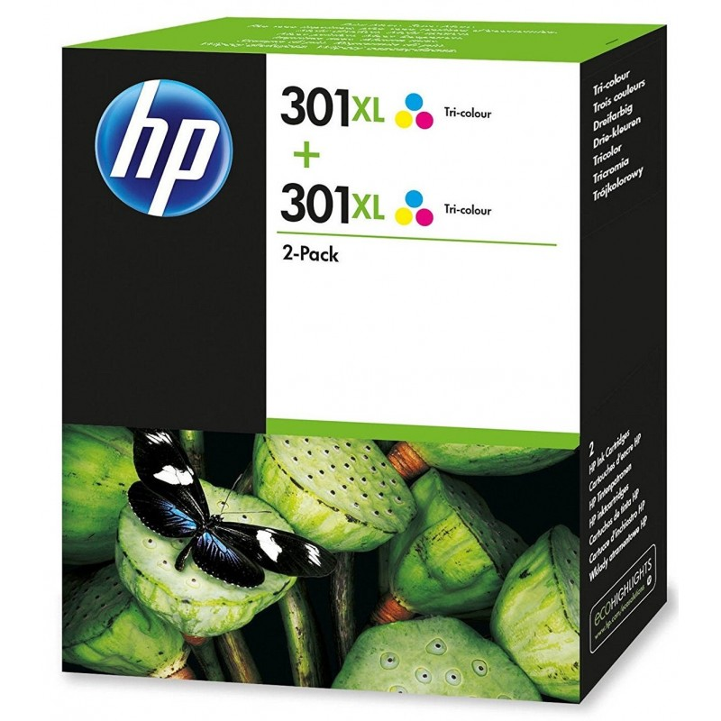 HP 301XL Color Ink Units x2 D8J46AE