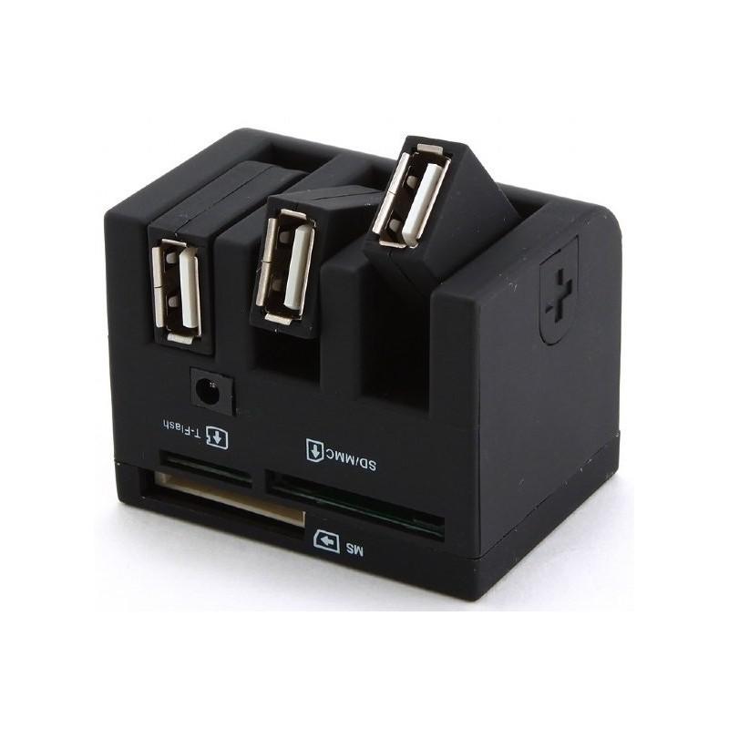 Hub USB de 3 Puertos con Lector de Tarjetas Gembird