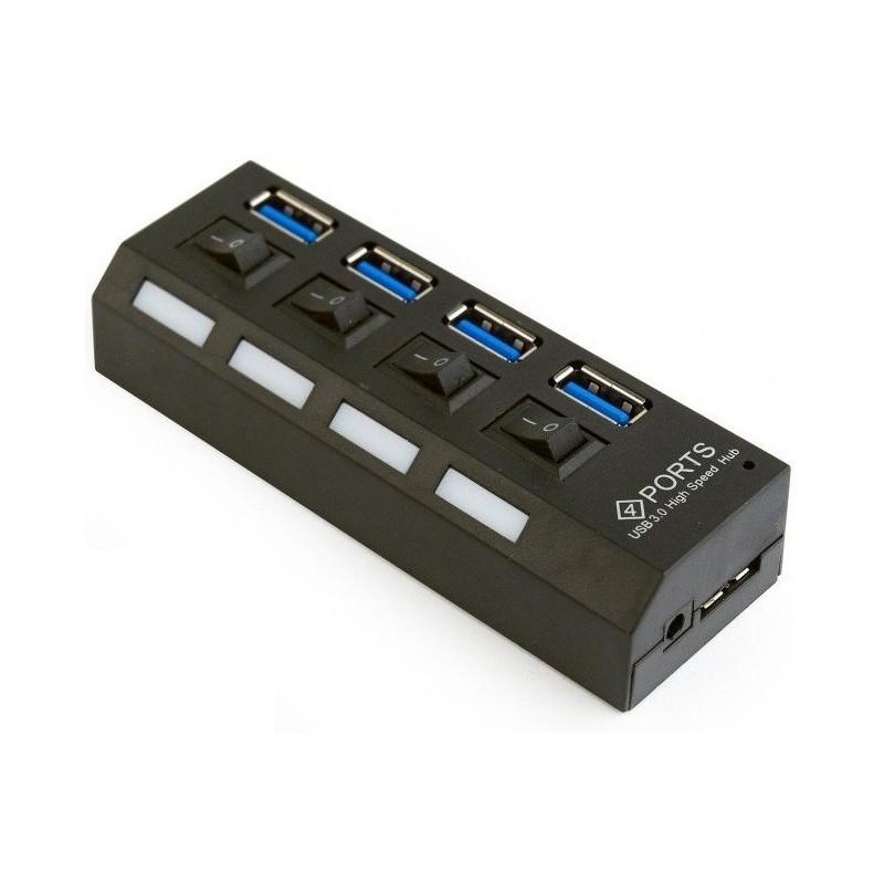 Hub USB 3.0 de 4 Puertos Gembird con Interruptor