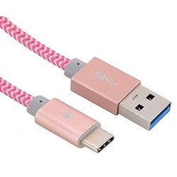 Cable USB 3.0 AM - TypeC M 1,2m Bluestork Gris/Rosa