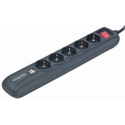 Regleta de 5 Tomas y 2 USB Energenie