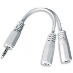 Jack Cable 3.5mm M / H 2x 0.1m Cablexpert White