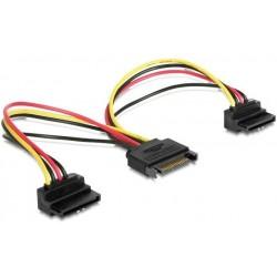 Cable Alimentación SATA M / 2x SATA H en ángulo Cablexpert