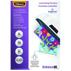Funda de Plastificar A4 80 Micras Brillo Fellowes x100
