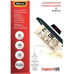 Funda de Plastificar A3 125 Micras Brillo Fellowes x100