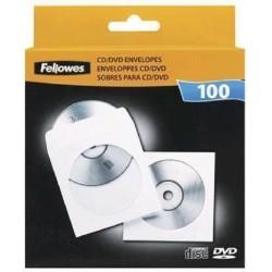 Fundas para CD o DVD 100 Unidades Fellowes de Papel