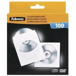 Fundas para CD o DVD 100 Unidades Fellowes de Papel