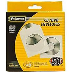 Fundas para CD o DVD 50 Unidades Fellowes de Papel