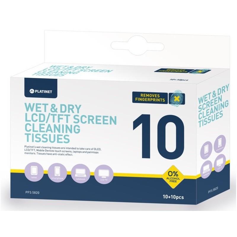 Toallitas para Limpieza de LCD/OLED Platinet 10+10