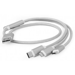 Cable USB de Carga 8pin - MicroUSB - TypeC 1m Cablexpert Plata