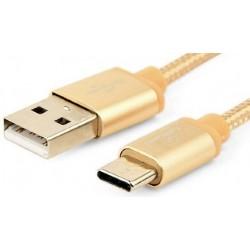 Cable USB AM - TypeC M 1,8m Cablexpert Trenzado Dorado