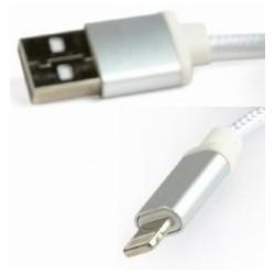 Cable USB AM - Lightning 1,8m Cablexpert Trenzado Plateado