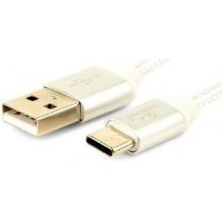 Cable USB AM - TypeC M 1,8m Cablexpert Trenzado Plateado
