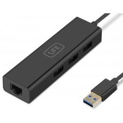 Hub USB 3.0 de 3 Puertos + RJ45 1Life usb:hub 3