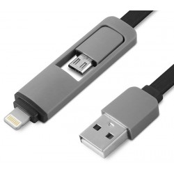 Cable USB AM - Lightning + MicroUSB BM 1m 1Life pa:2in1 flat