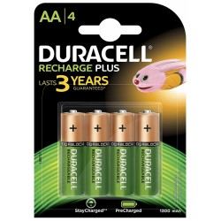 Pila Recargable AA Duracell Plus 4 Unidades
