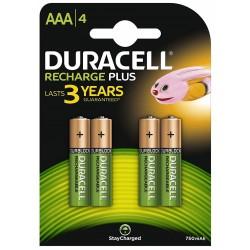 Pila Recargable AAA Duracell Plus 4 Unidades