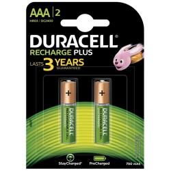 Pila Recargable AAA Duracell Plus 2 Unidades