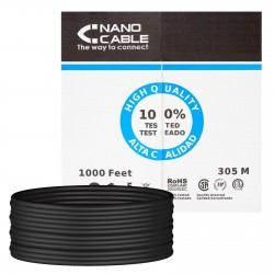 Cable de Red Cat.6 UTP Exterior Rigido 305m Nanocable Negro