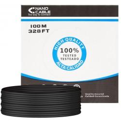 Cable de Red Cat.6 UTP Exterior Rígido 100m Nanocable Negro