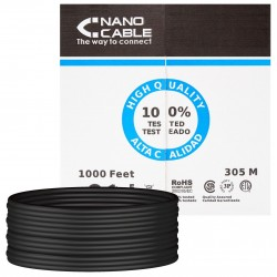 Cable de Red Cat.5e UTP Exterior Rigido 305m Nanocable Negro