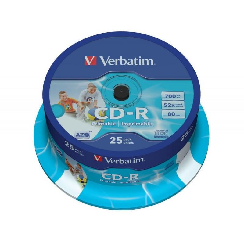CD-R Tarrina 25 Unidades Verbatim Printables