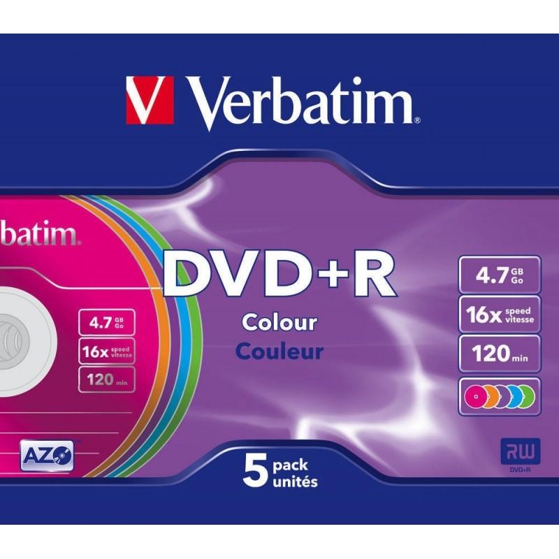DVD+R 5 Unidades Verbatim Colores