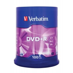 DVD + R Verbatim Tarrina 100 Units
