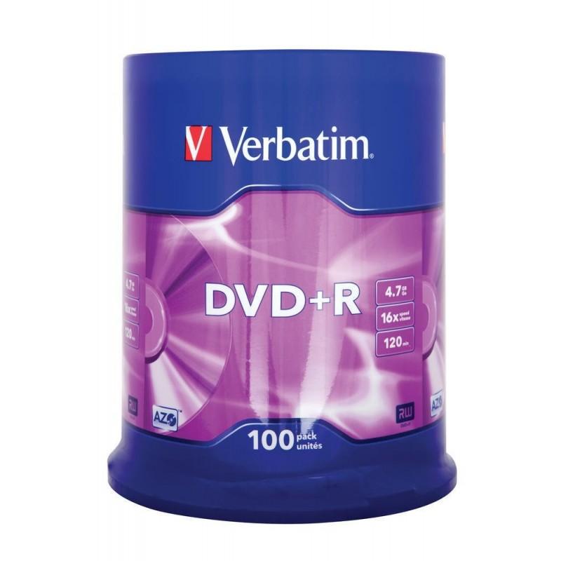DVD+R Tarrina 100 Unidades Verbatim